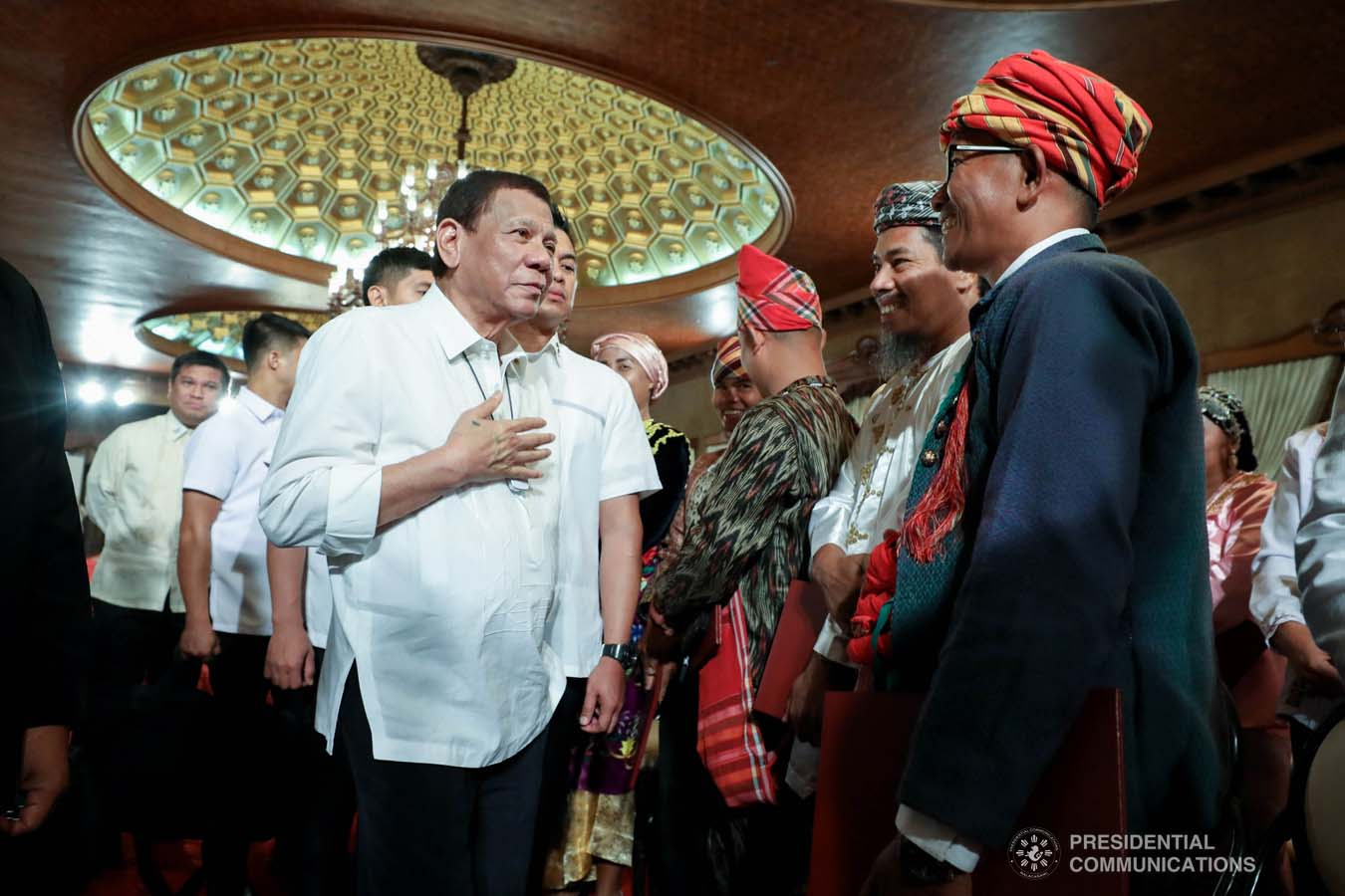 President Rodrigo Roa Duterte greets some of the guests during the oath-taking of the new officials of the National Commission for Culture and the Arts (NCAA) and presentation of the 12th Ani ng Dangal awardees at the Malacañan Palace on February 26, 2020. RICHARD MADELO/PRESIDENTIAL PHOTO