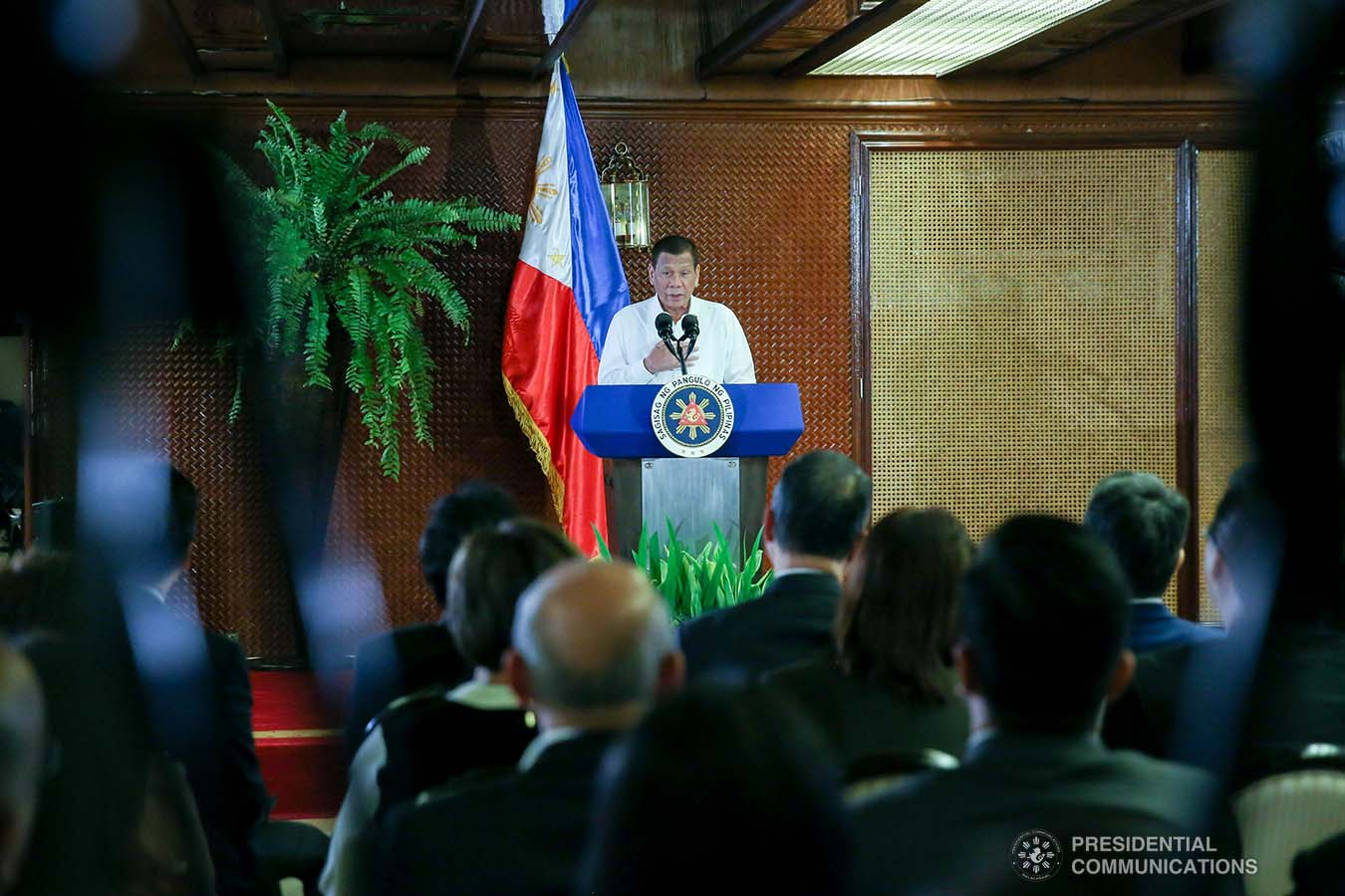 President Rodrigo Roa Duterte delivers a speech during the oath-taking ceremony of the newly elected officers and board of trustees of the Kapisanan ng mga Brodkaster ng Pilipinas (KBP) at the Malacañan Palace on February 12, 2020. SIMEON CELI JR./PRESIDENTIAL PHOTO