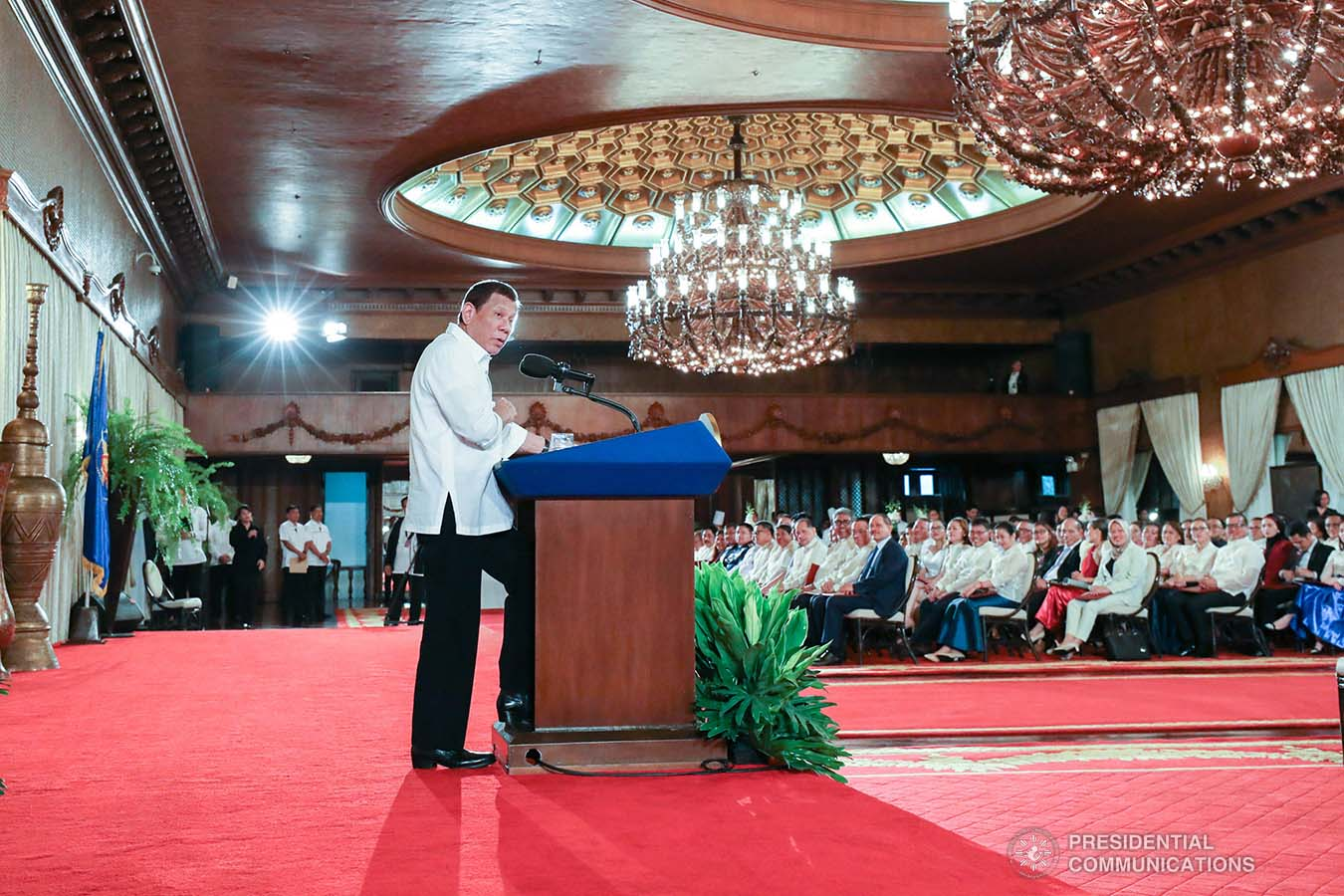 President Rodrigo Roa Duterte delivers a speech during the oath-taking ceremony of the newly-appointed government officials at the Malacañan Palace on February 6, 2020. TOTO LOZANO/PRESIDENTIAL PHOTO