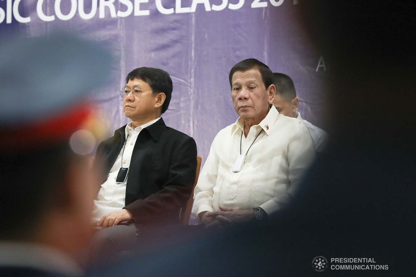 President Rodrigo Roa Duterte graces the joint graduation ceremony of Public Safety Officers Basic Course Class 2019-07 and Advance Course Class 2019-18 at the Arcadia Active Lifestyle Center in Davao City on February 20, 2020. TOTO LOZANO/PRESIDENTIAL PHOTO