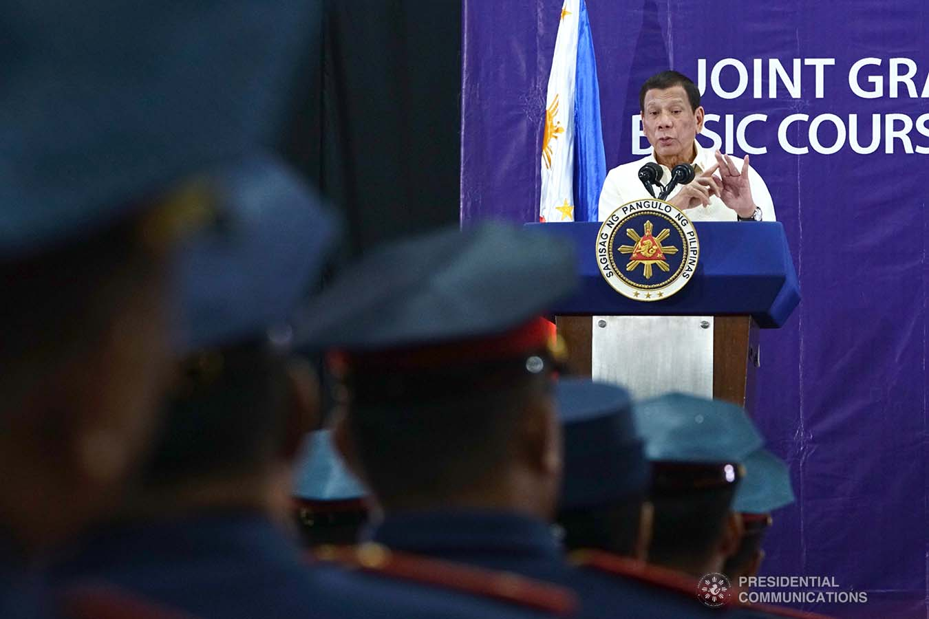 President Rodrigo Roa Duterte delivers a speech during the joint graduation ceremony of the Public Safety Officers Basic Course (PSOBC) Class 2019-07 and the Public Safety Officers Advance Course (PSOAC) Class 2019-18 at the Arcadia Active Lifestyle Center in Davao City on February 20, 2020. JOEY DALUMPINES/PRESIDENTIAL PHOTO