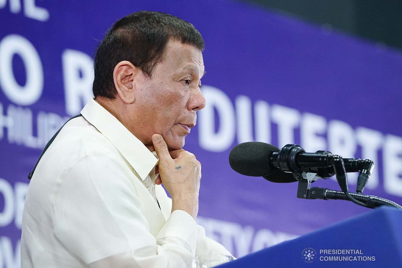 President Rodrigo Roa Duterte delivers a speech during the joint graduation ceremony of Public Safety Officers Basic Course Class 2019-07 and Advance Course (PSOAC) Class 2019-18 at the Arcadia Active Lifestyle Center in Davao City on February 20, 2020. JOEY DALUMPINES/PRESIDENTIAL PHOTO