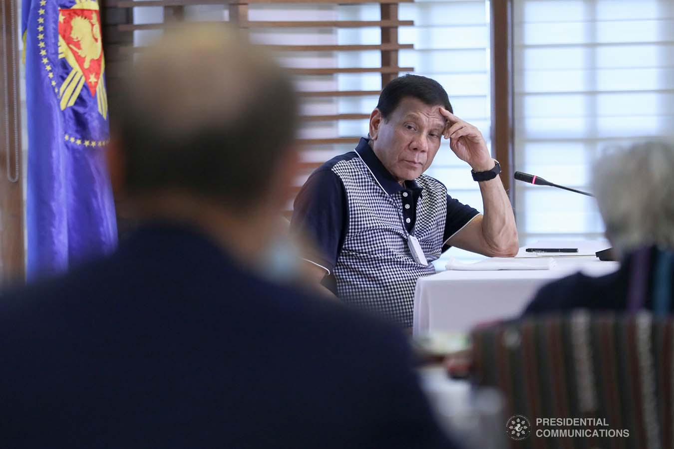 President Rodrigo Roa Duterte holds a meeting with the officials of the Inter-Agency Task Force for the Management of Emerging Infectious Diseases at the Malago Clubhouse in Malacañang on March 19, 2020.