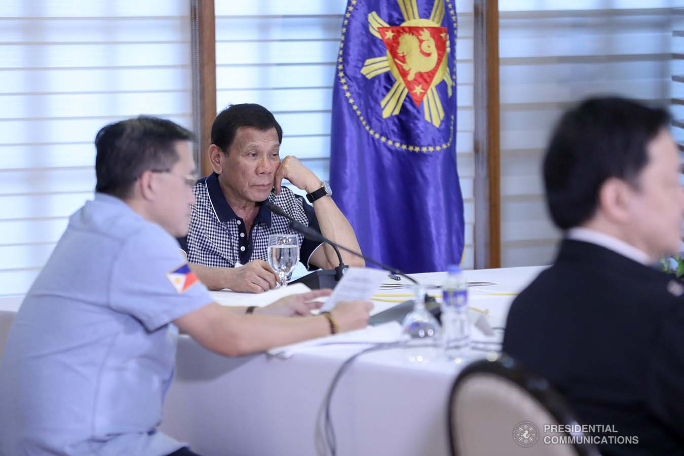 President Rodrigo Roa Duterte holds a meeting with the officials of the Inter-Agency Task Force for the Management of Emerging Infectious Diseases at the Malago Clubhouse in Malacañang on March 19, 2020. ACE MORANDANTE/PRESIDENTIAL PHOTO