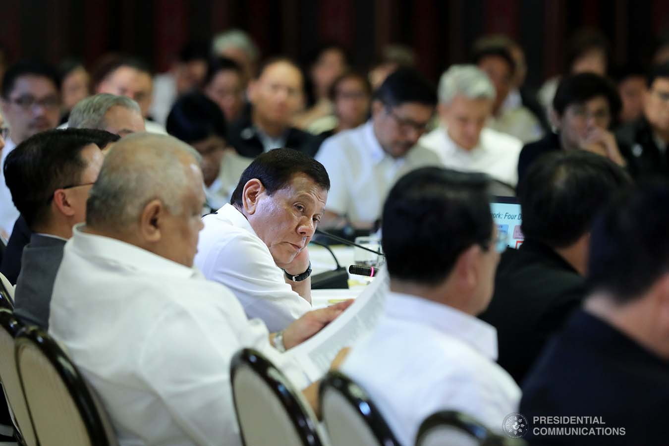 President Rodrigo Roa Duterte holds a meeting with the Inter-Agency Task Force for the Management of Emerging Infectious Diseases at the Malacañan Palace on March 9, 2020. ROBINSON NIÑAL JR./PRESIDENTIAL PHOTO