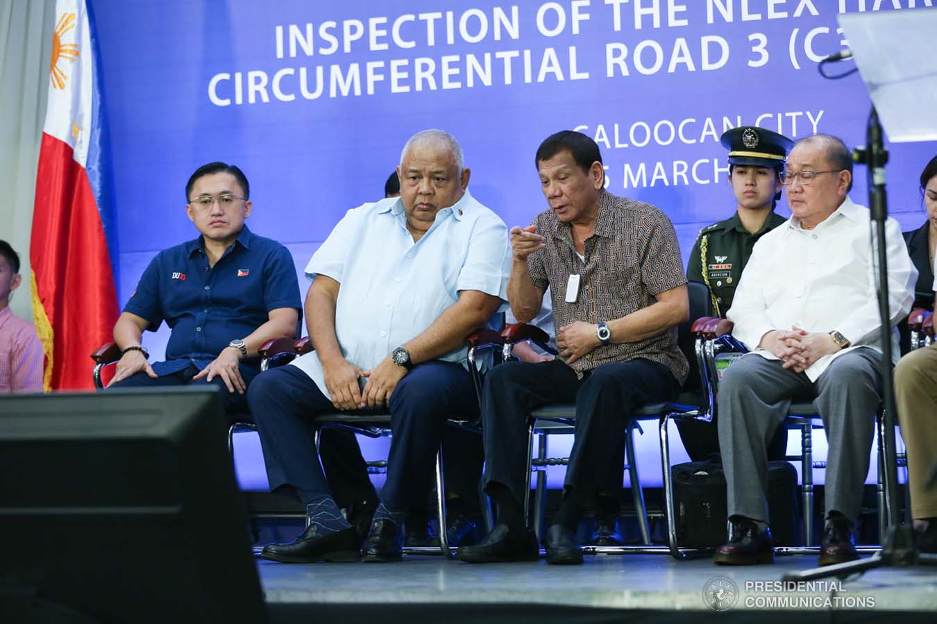 President Rodrigo Roa Duterte chats with Executive Secretary Salvador Medialdea after leading the inspection of the North Luzon Expressway (NLEX) Harbor Link Circumferential Road 3 (C3)-R10 Section in Caloocan City on March 5, 2020. SIMEON CELI JR./PRESIDENTIAL PHOTO