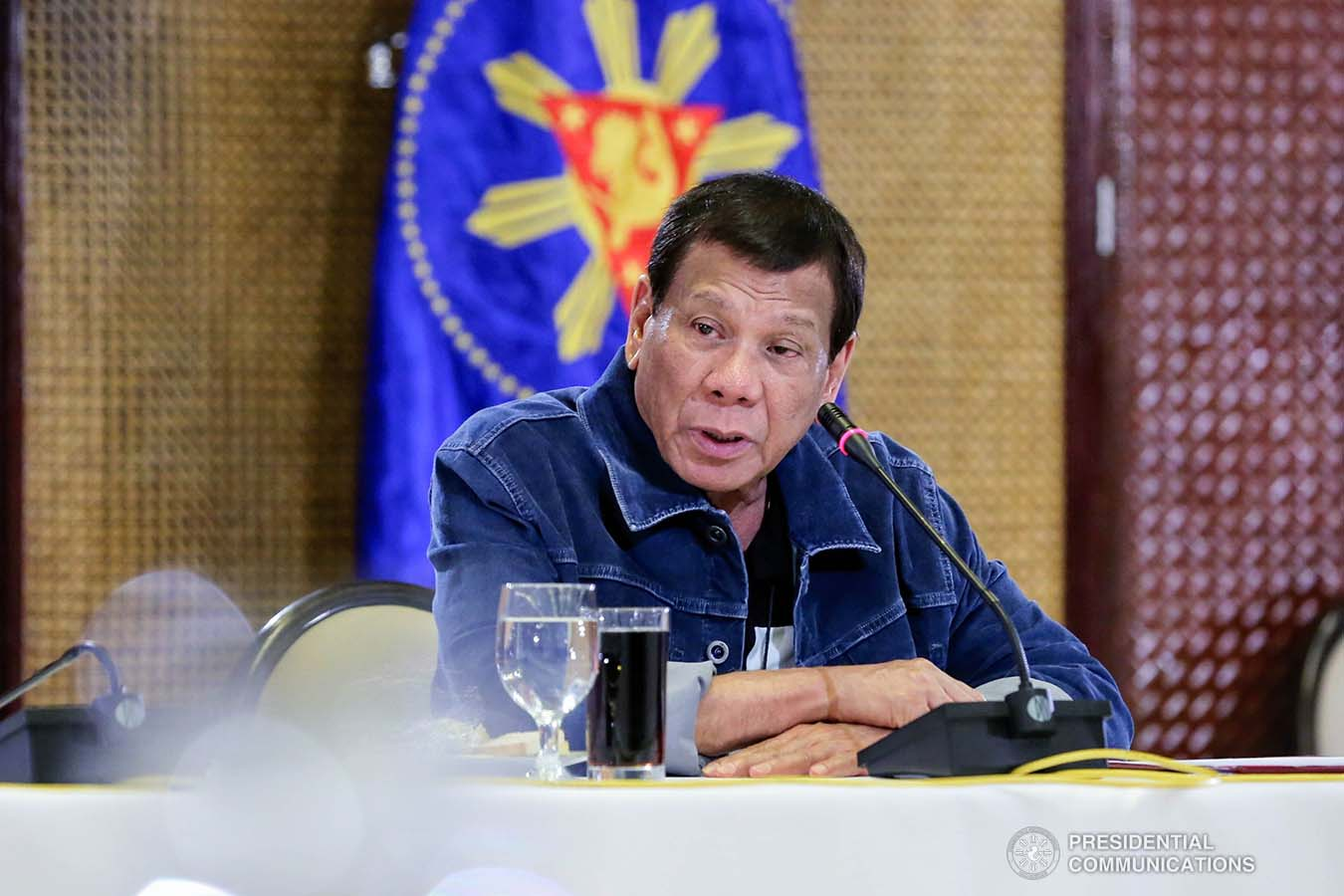 President Rodrigo Roa Duterte presides over a meeting with the Inter-Agency Task Force on the Emerging Infectious Diseases (IATF-EID) at the Malacañan Palace on March 12, 2020. RICHARD MADELO/PRESIDENTIAL PHOTO