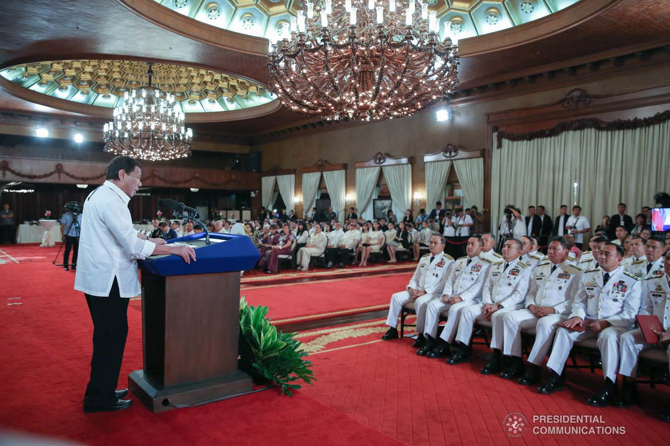 President Rodrigo Roa Duterte delivers a speech during the oath-taking ceremony of the newly appointed Generals and Flag Officers of the Armed Forces of the Philippines and Star Rank Officers of the Philippine National Police at the Malacañan Palace on March 11, 2020. ALBERT ALCAIN/PRESIDENTIAL PHOTO