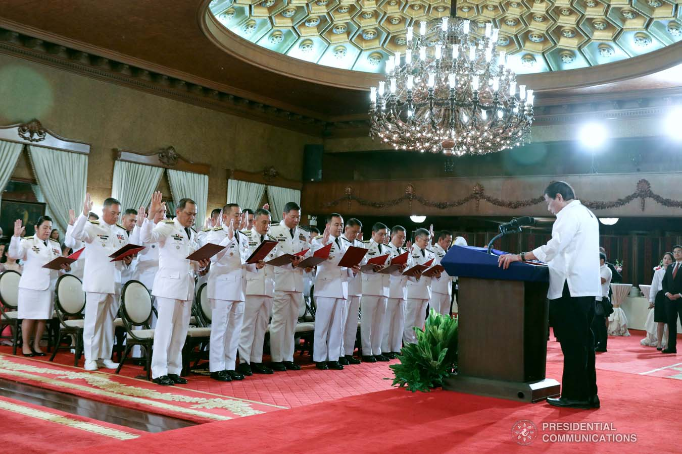 President Rodrigo Roa Duterte swears in the newly appointed Generals and Flag Officers of the Armed Forces of the Philippines and Star Rank Officers of the Philippine National Police at the Malacañan Palace on March 11, 2020. ROBINSON NIÑAL JR./PRESIDENTIAL PHOTO