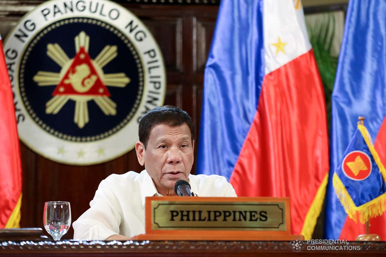 President Rodrigo Roa Duterte gives his intervention as he joins other leaders from the Association of Southeast Asian Nations (ASEAN) member countries, the Republic of Korea, People's Republic of China and Japan during the special ASEAN Plus Three Summit on Covid-19 video conference at the Malago Clubhouse in Malacañang on April 14, 2020. ACE MORANDANTE/PRESIDENTIAL PHOTOS