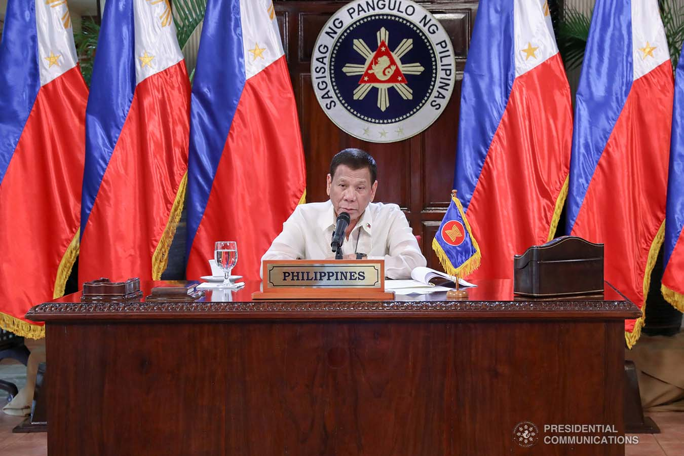 President Rodrigo Roa Duterte gives his intervention as he joins other leaders from the Association of Southeast Asian Nations (ASEAN) member countries during the special ASEAN Summit on Covid-19 video conference at the Malago Clubhouse in Malacañang on April 14, 2020. TOTO LOZANO/PRESIDENTIAL PHOTOS