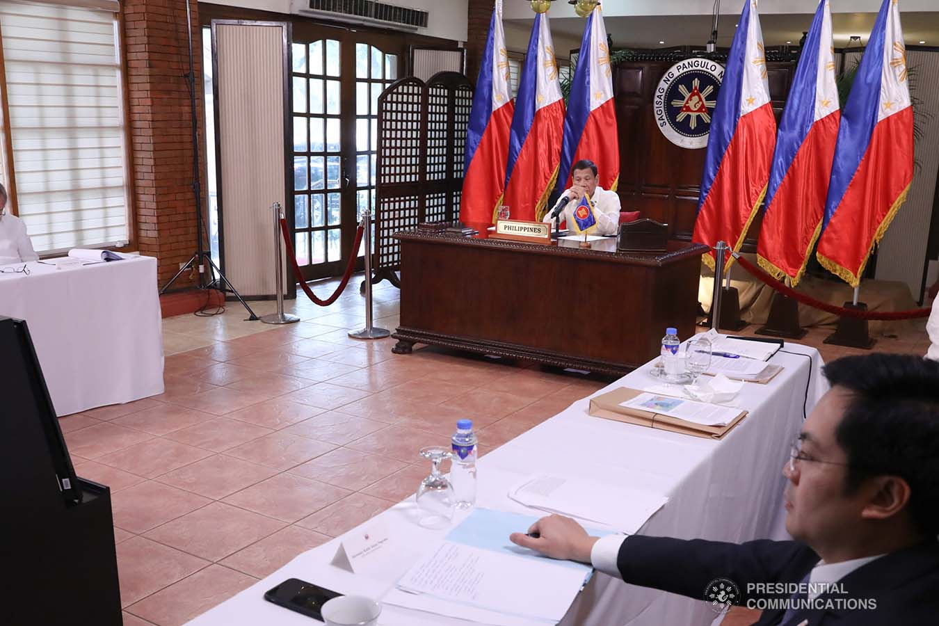 President Rodrigo Roa Duterte joins other leaders from the Association of Southeast Asian Nations (ASEAN) member countries during the special ASEAN Summit on Covid-19 video conference at the Malago Clubhouse in Malacañang on April 14, 2020. TOTO LOZANO/PRESIDENTIAL PHOTOS