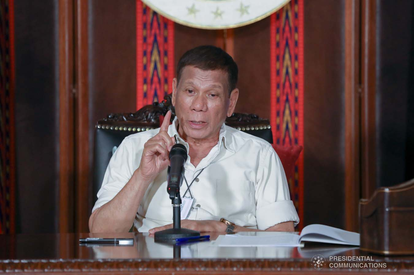 President Rodrigo Roa Duterte updates the nation on the government's efforts in addressing the coronavirus disease (COVID-19) at the Malago Clubhouse in Malacañang on April 3, 2020. TOTO LOZANO/PRESIDENTIAL PHOTO
