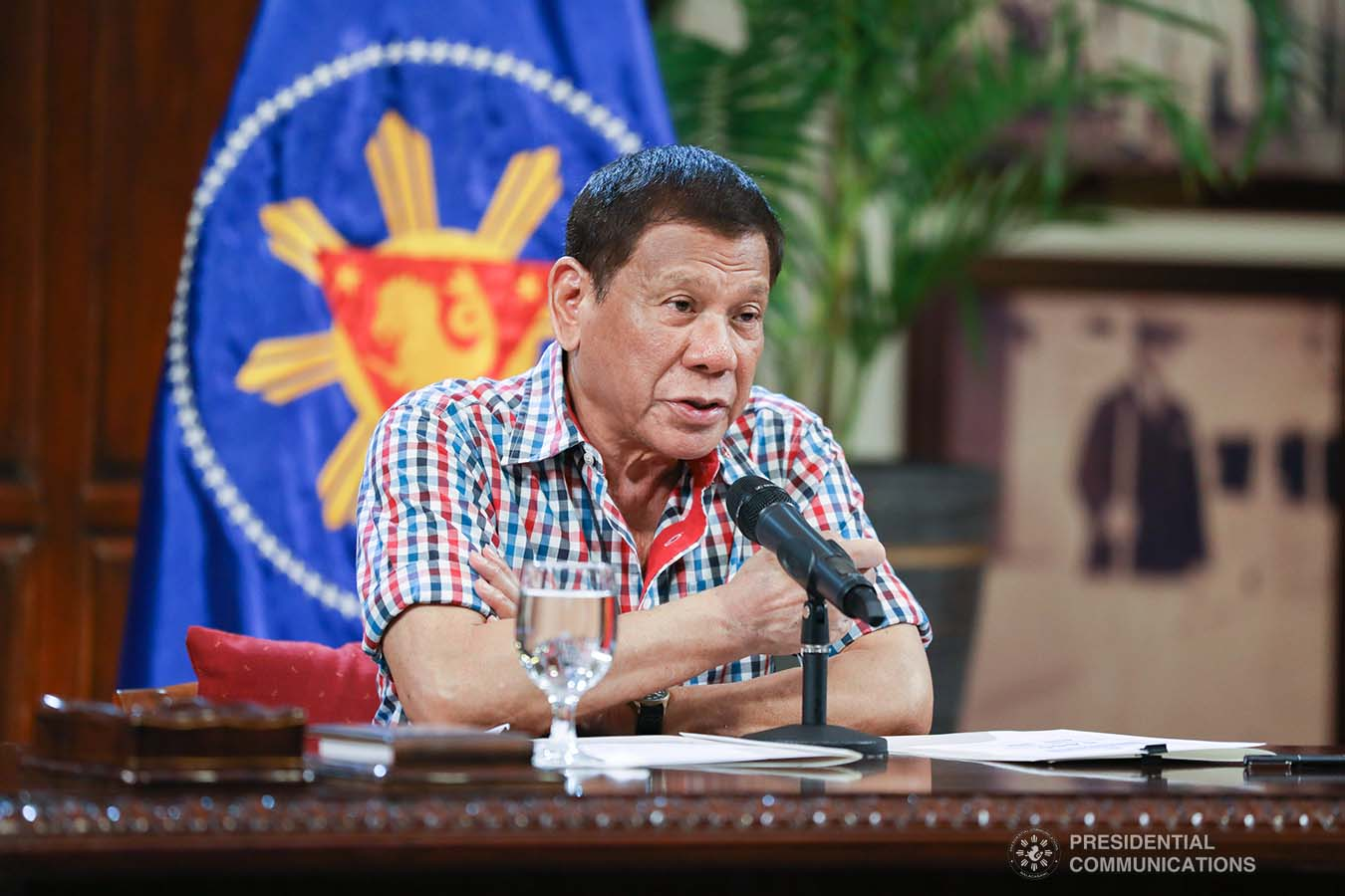 President Rodrigo Roa Duterte addresses the nation on the government's efforts against the coronavirus disease (COVID-19) at the Malago Clubhouse in Malacañang on April 16, 2020. KARL NORMAN ALONZO/PRESIDENTIAL PHOTO