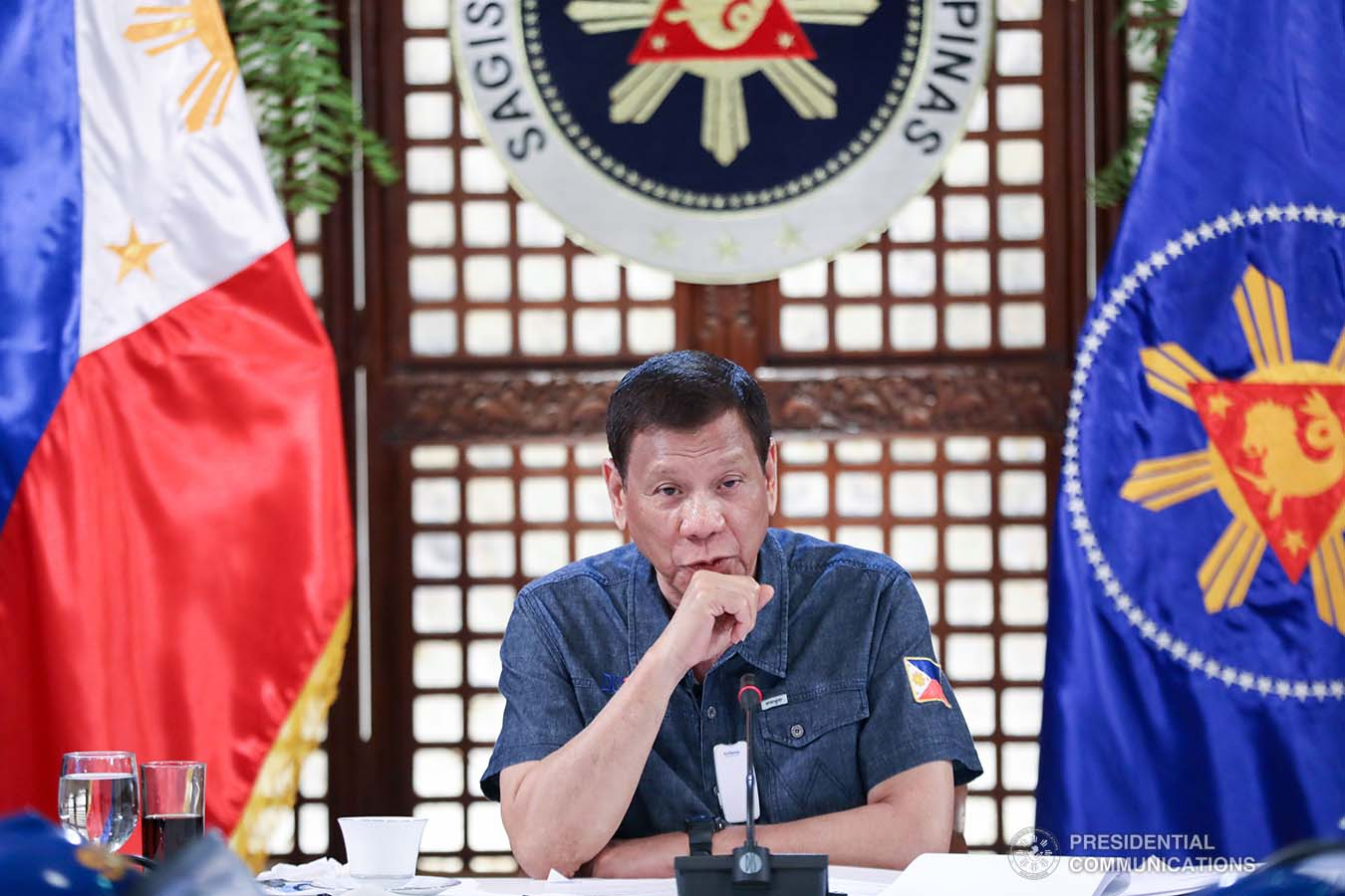 President Rodrigo Roa Duterte updates the nation on the government's efforts in addressing the coronavirus disease (COVID-19) at the Malago Clubhouse in Malacañang on May 11, 2020. ACE MORANDANTE/PRESIDENTIAL PHOTO