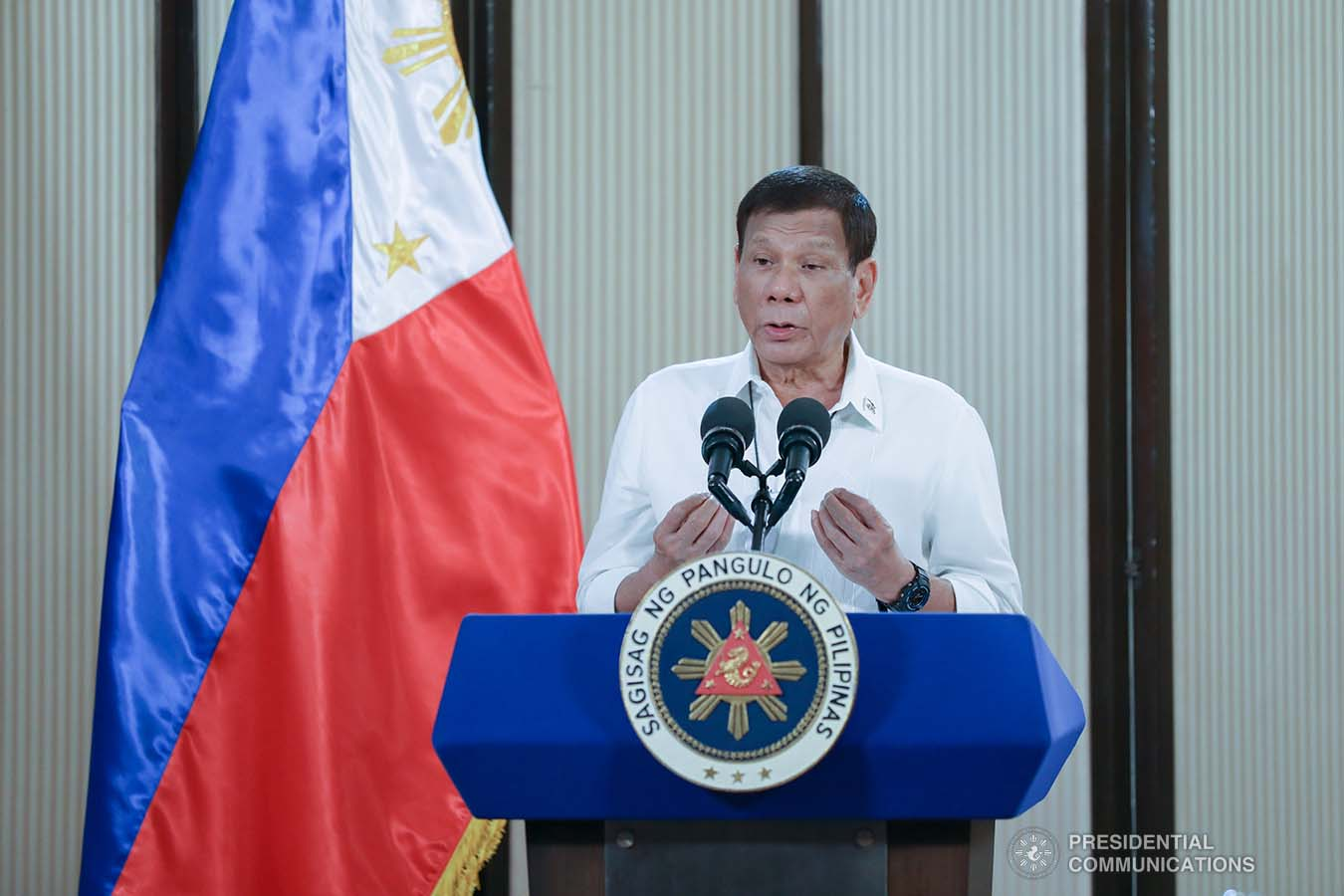 President Rodrigo Roa Duterte congratulates the personnel of the Philippine Army and Philippine Air Force for their successful operations against the New People's Army as he delivers a speech following a meeting at the Malago Clubhouse in Malacañang, Manila on May 26, 2020. KARL NORMAN ALONZO/PRESIDENTIAL PHOTO