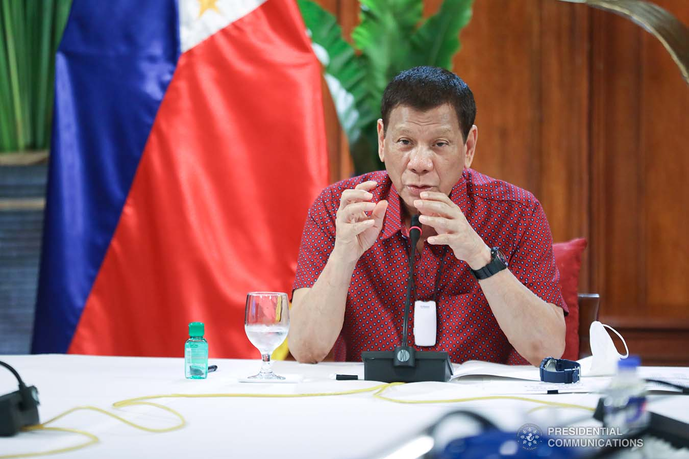 President Rodrigo Roa Duterte updates the nation on the government's efforts in addressing the coronavirus disease (COVID-19) at the Malago Clubhouse in Malacañang on May 28, 2020. ACE MORANDANTE/PRESIDENTIAL PHOTO
