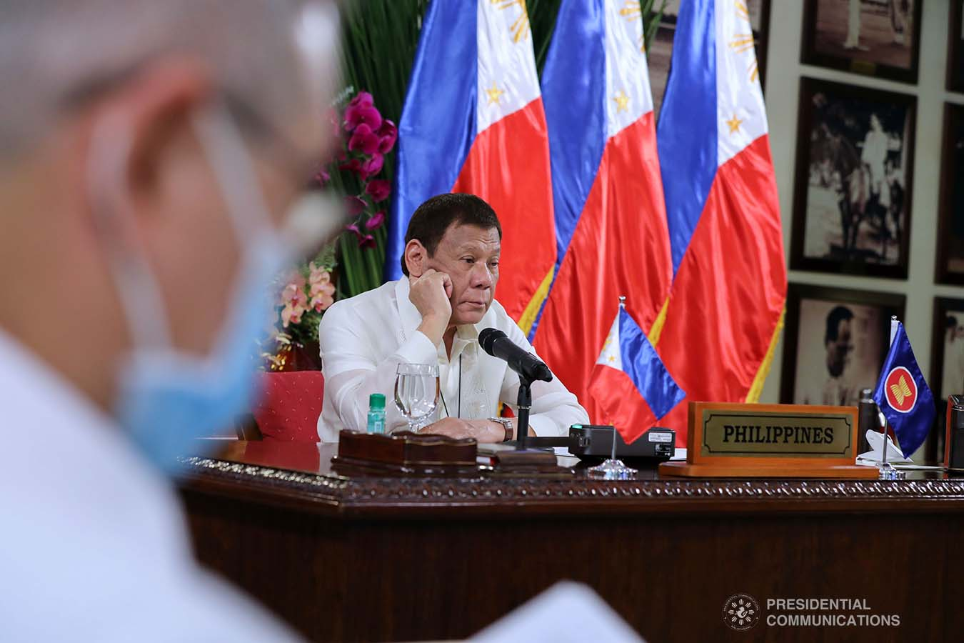 President Rodrigo Roa Duterte joins other leaders from the Association of Southeast Asian Nations (ASEAN) member countries during the 36th ASEAN Summit video conference at the Malago Clubhouse in Malacañang on June 26, 2020. ROBINSON NIÑAL JR./PRESIDENTIAL PHOTOS