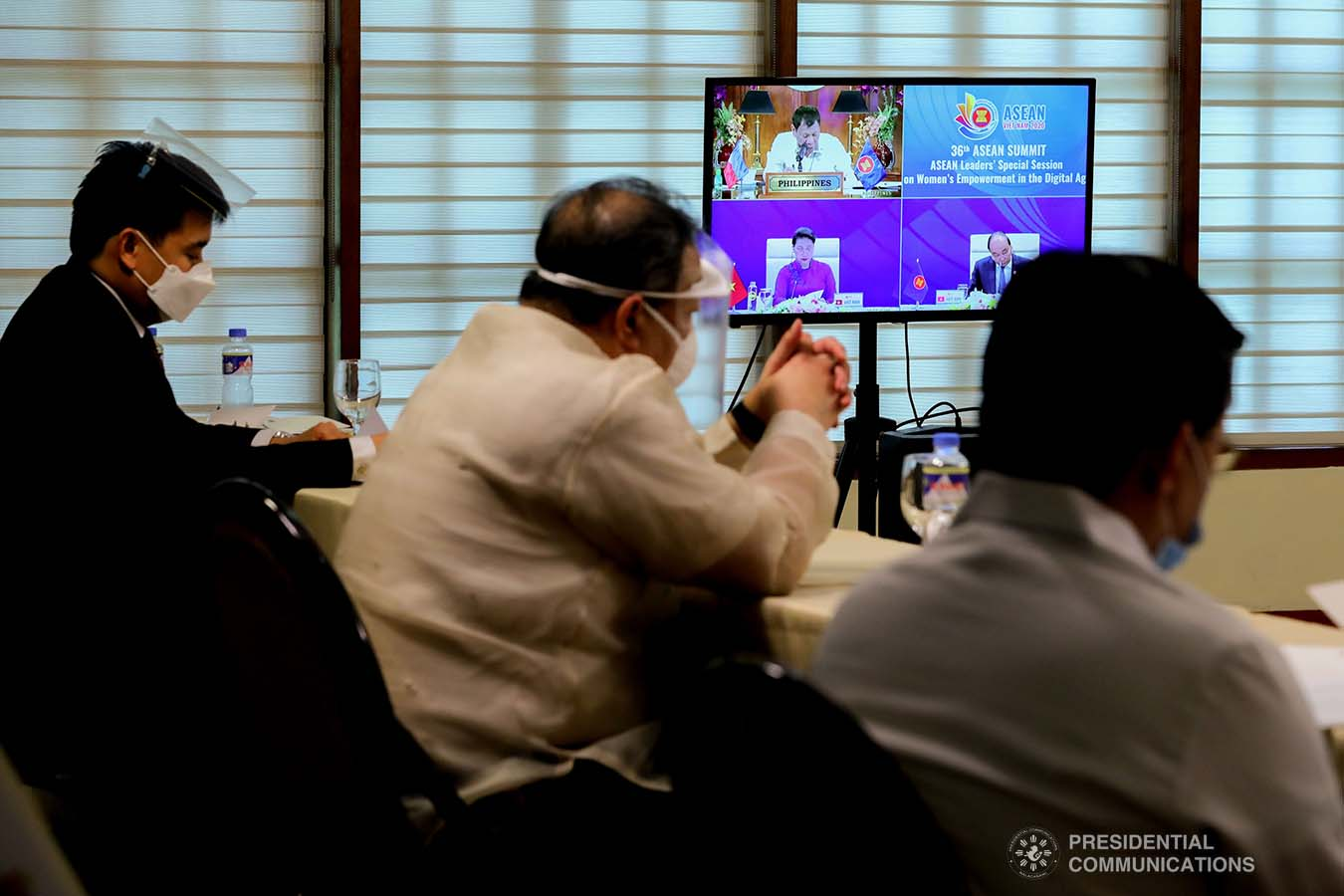 President Rodrigo Roa Duterte gives his intervention as he joins other leaders from the Association of Southeast Asian Nations (ASEAN) member countries during the 36th ASEAN Summit video conference at the Malago Clubhouse in Malacañang on June 26, 2020. ROBINSON NIÑAL JR./PRESIDENTIAL PHOTOS