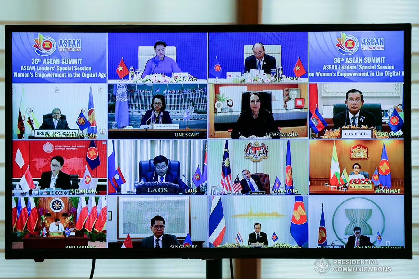 President Rodrigo Roa Duterte joins other leaders from the Association of Southeast Asian Nations (ASEAN) member countries during the 36th ASEAN Summit video conference at the Malago Clubhouse in Malacañang on June 26, 2020. SIMEON CELI JR./PRESIDENTIAL PHOTOS