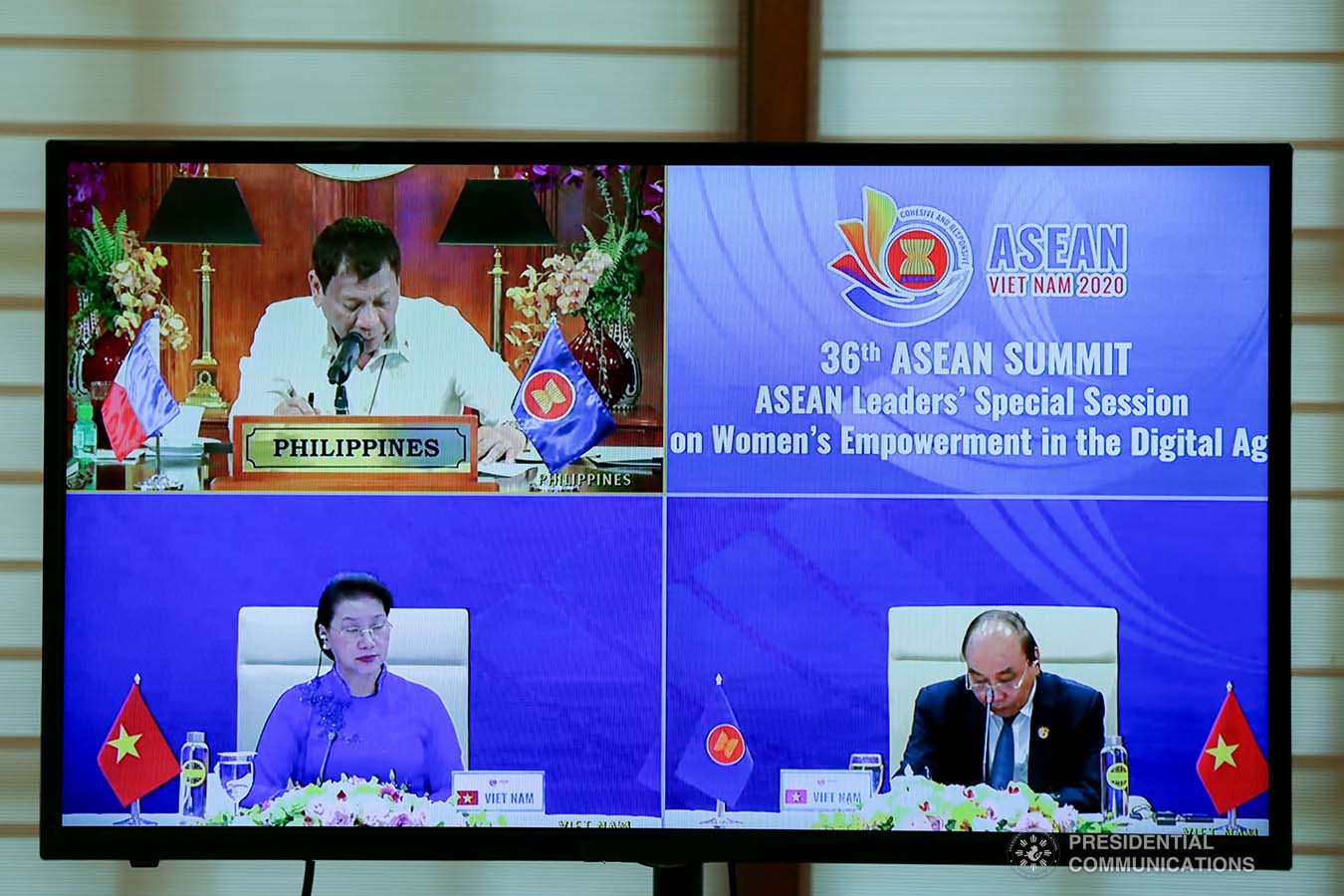 President Rodrigo Roa Duterte gives his intervention as he joins other leaders from the Association of Southeast Asian Nations (ASEAN) member countries during the 36th ASEAN Summit video conference at the Malago Clubhouse in Malacañang on June 26, 2020. SIMEON CELI JR./PRESIDENTIAL PHOTOS