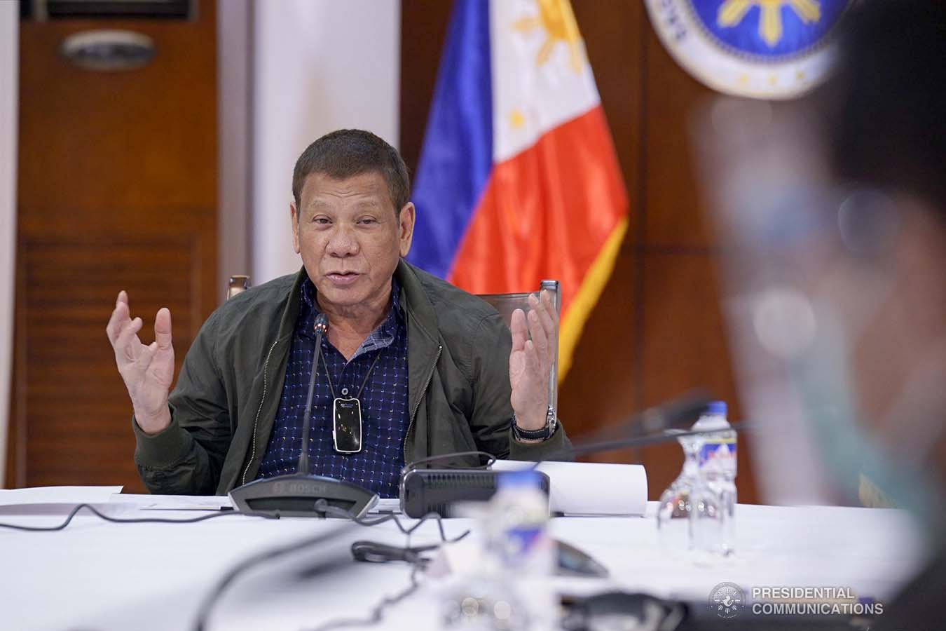 President Rodrigo Roa Duterte talks to the people after holding a meeting with the Inter-Agency Task Force on the Emerging Infectious Diseases (IATF-EID) core members at the Presidential Guest House in Panacan, Davao City on July 7, 2020. ARMAN BAYLON/PRESIDENTIAL PHOTO