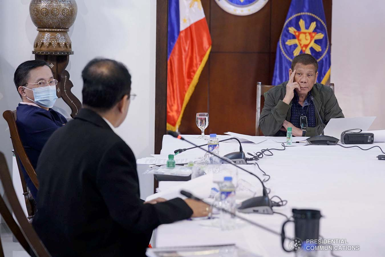 President Rodrigo Roa Duterte holds a meeting with the core members of the Inter-Agency Task Force on the Emerging Infectious Diseases (IATF-EID) at the Presidential Guest House in Panacan, Davao City on July 7, 2020. ARMAN BAYLON/PRESIDENTIAL PHOTO