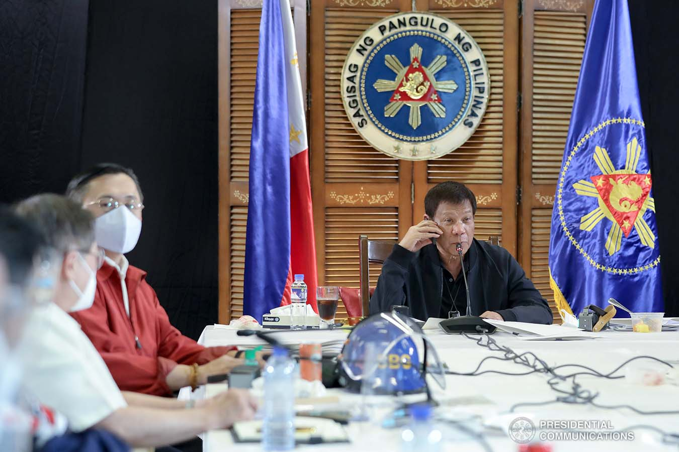 President Rodrigo Roa Duterte talks to the people after holding a meeting with the Inter-Agency Task Force on the Emerging Infectious Diseases (IATF-EID) core members at the Matina Enclaves in Davao City on August 24, 2020. ROBINSON NIÑAL JR./PRESIDENTIAL PHOTO