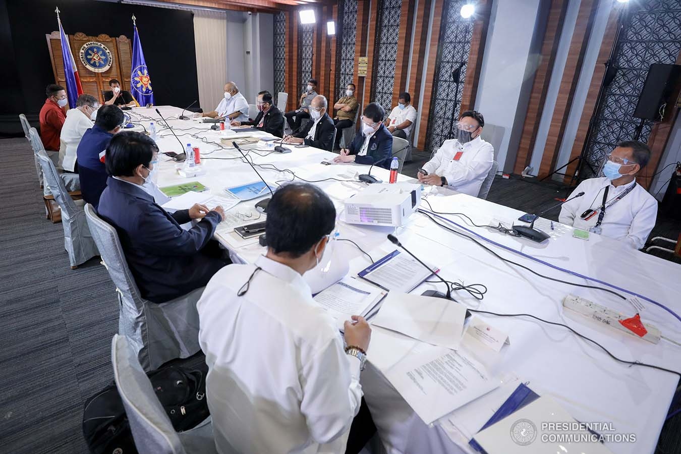 President Rodrigo Roa Duterte holds a meeting with the Inter-Agency Task Force on the Emerging Infectious Diseases (IATF-EID) core members at the Matina Enclaves in Davao City on August 24, 2020. SIMEON CELI JR./PRESIDENTIAL PHOTO