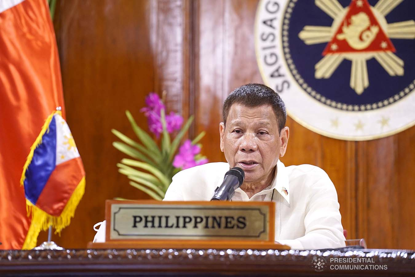 President Rodrigo Roa Duterte delivers his remarks as he joins several world leaders, representatives from the United Nations (UN) and international organizations during the Aqaba Process Virtual Meeting on Coronavirus Disease 2019 (COVID-19) Response hosted by the Hashemite Kingdom of Jordan via video conference at the Malago Clubhouse in Malacañang on September 2, 2020. KING RODRIGUEZ/PRESIDENTIAL PHOTOS