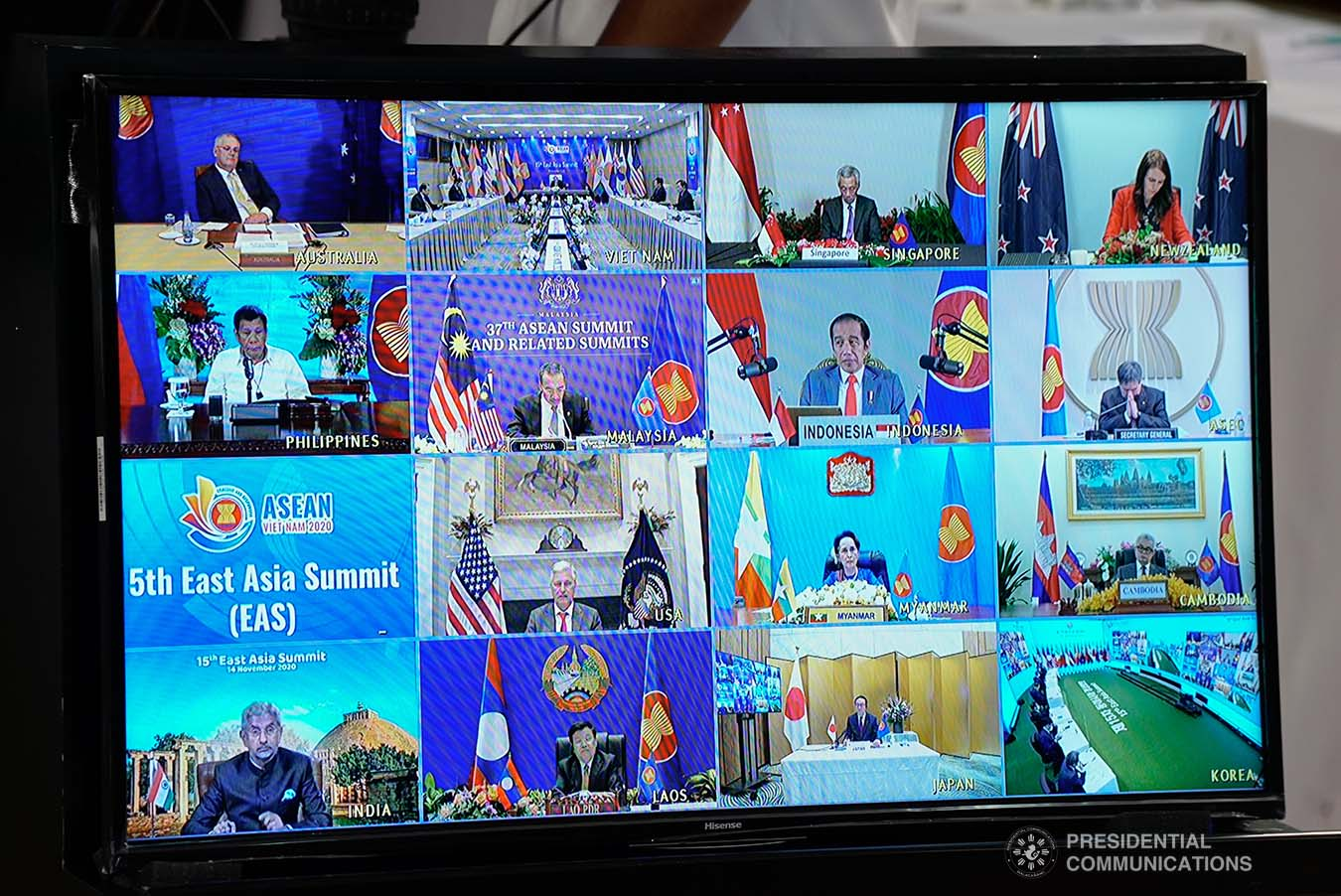 President Rodrigo Roa Duterte is shown on-screen with other leaders and heads of states during the virtual 15th EAST ASIA Summit at the Malacañang Golf (Malago) Clubhouse in Malacañang Park, Manila on November 14, 2020. KING RODRIGUEZ/ PRESIDENTIAL PHOTO