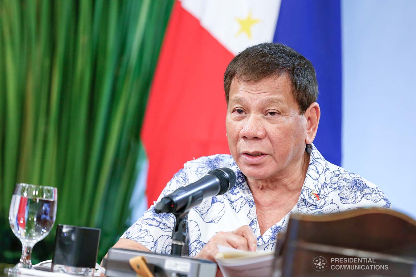 President Rodrigo Roa Duterte talks to the people after holding a meeting with the Inter-Agency Task Force on the Emerging Infectious Diseases (IATF-EID) core members at the Malacañang Golf (Malago) Clubhouse in Malacañang Park, Manila on January 13, 2021. RICHARD MADELO/ PRESIDENTIAL PHOTO