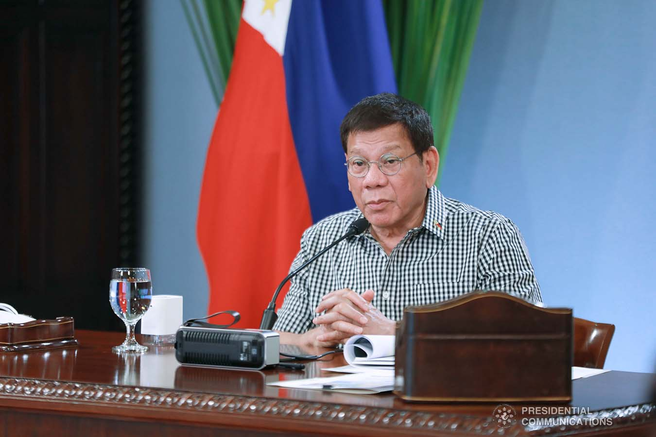 President Rodrigo Roa Duterte presides over a meeting with the Inter-Agency Task Force on the Emerging Infectious Diseases (IATF-EID) core members prior to his talk to the people at the Malacañang Golf (Malago) Clubhouse in Malacañang Park, Manila on February 24, 2021. ACE MORANDANTE/ PRESIDENTIAL PHOTO