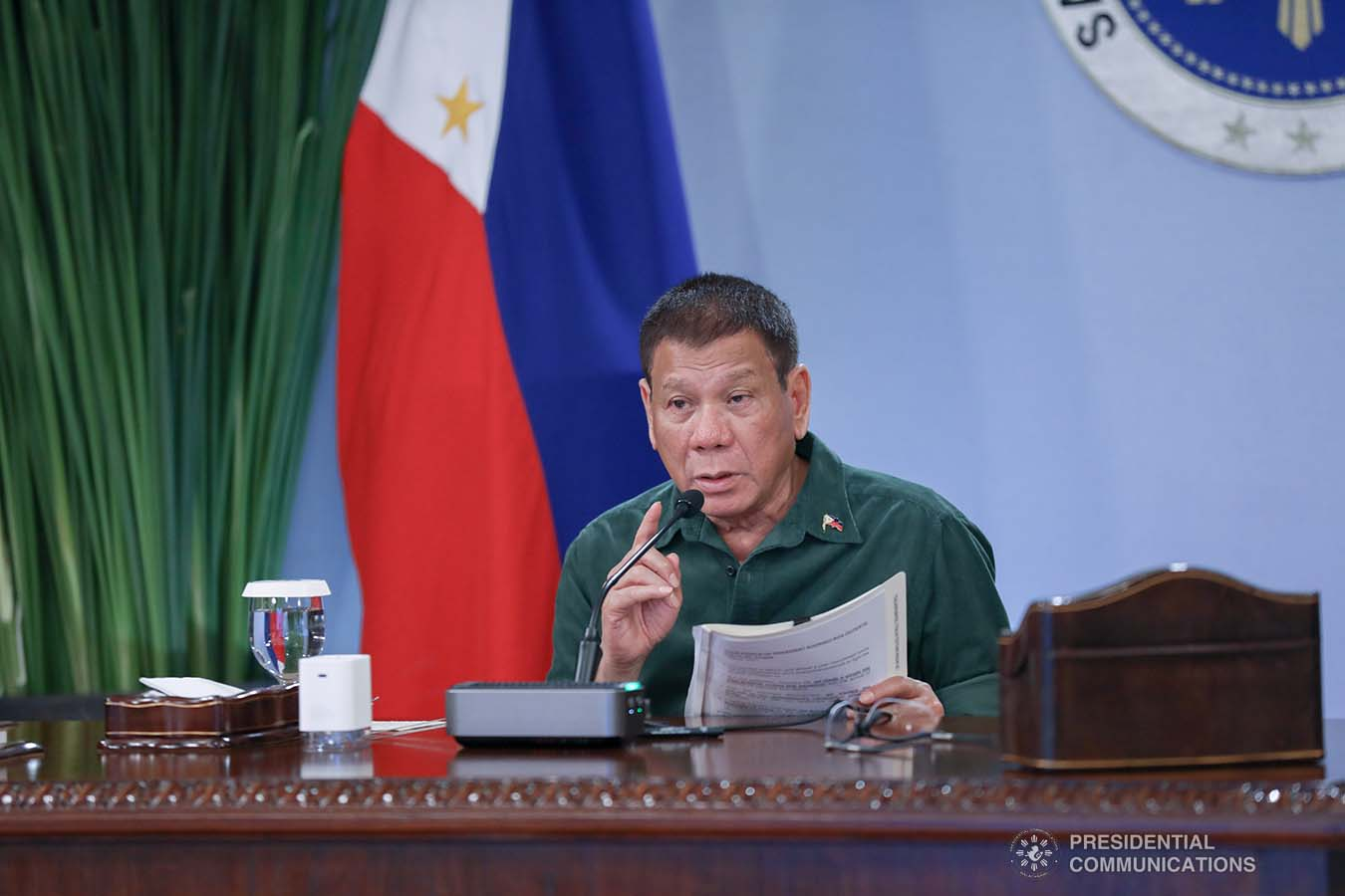 President Rodrigo Roa Duterte talks to the people after holding a meeting with the Inter-Agency Task Force on the Emerging Infectious Diseases (IATF-EID) core members at the Malacañang Golf (Malago) Clubhouse in Malacañang Park, Manila on March 1, 2021. KARL NORMAN ALONZO/ PRESIDENTIAL PHOTO