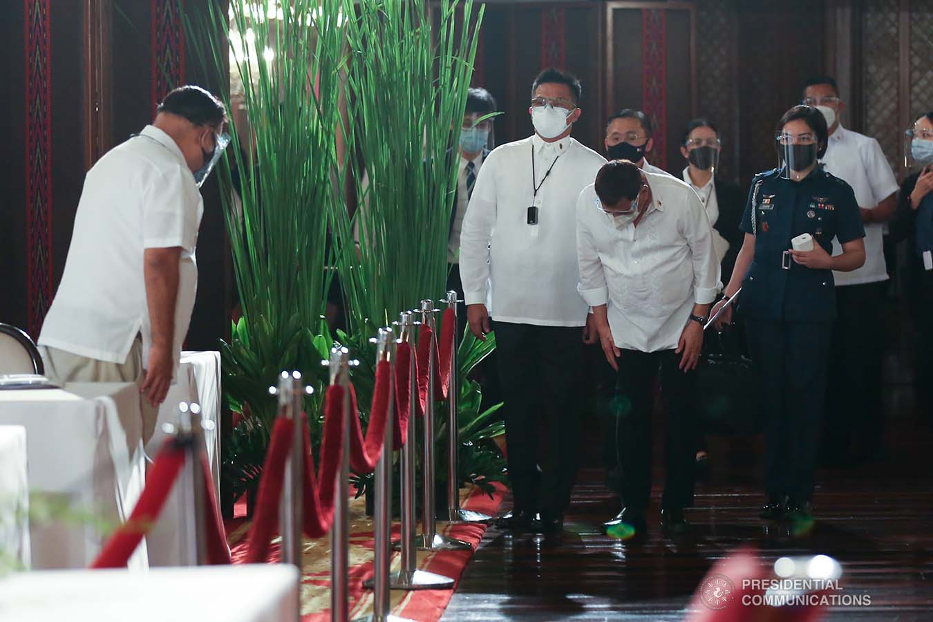 President Rodrigo Roa Duterte shows a gesture of respect upon his arrival at the Malacañan Palace for the 53rd Cabinet Meeting on March 3, 2021. KARL NORMAN ALONZO/ PRESIDENTIAL PHOTO