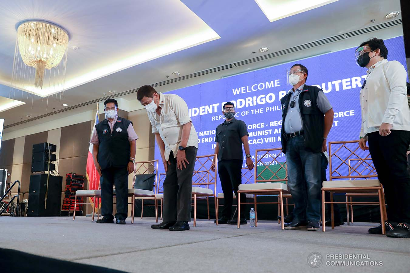 President Rodrigo Roa Duterte shows a gesture of respect as he takes center stage during the Joint National Task Force-Regional Task Force to End Local Communist Armed Conflict (NTF-RTF ELCAC) Region 8 meeting at the Summit Hotel in Tacloban City, Leyte on March 18, 2021. KARL NORMAN ALONZO/ PRESIDENTIAL PHOTO