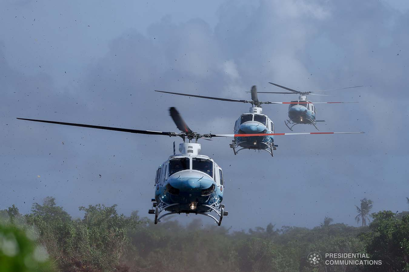 The convoy of helicopters carrying President Rodrigo Roa Duterte arrives at the Veterans Park Calicoan Island in Guiuan, Eastern Samar where the President will attend the 500th Anniversary of the Philippine Part in the First Circumnavigation of the World on March 18, 2021. REY BANIQUET/ PRESIDENTIAL PHOTO