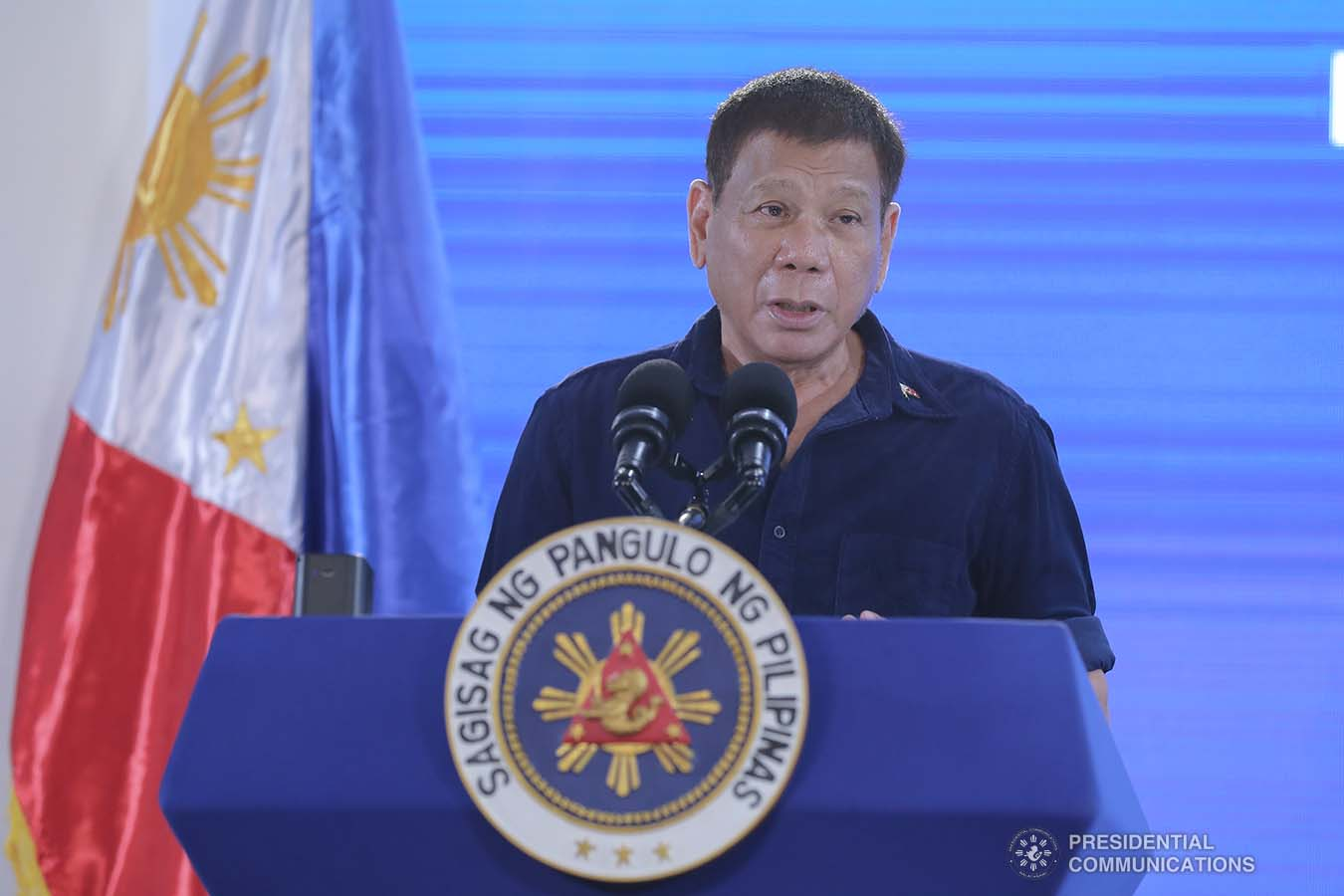 President Rodrigo Roa Duterte delivers his speech during the inauguration of the development projects at Dumaguete (Sibulan) Airport in Sibulan, Negros Oriental on March 11, 2021. VALERIE ESCALERA/ PRESIDENTIAL PHOTO