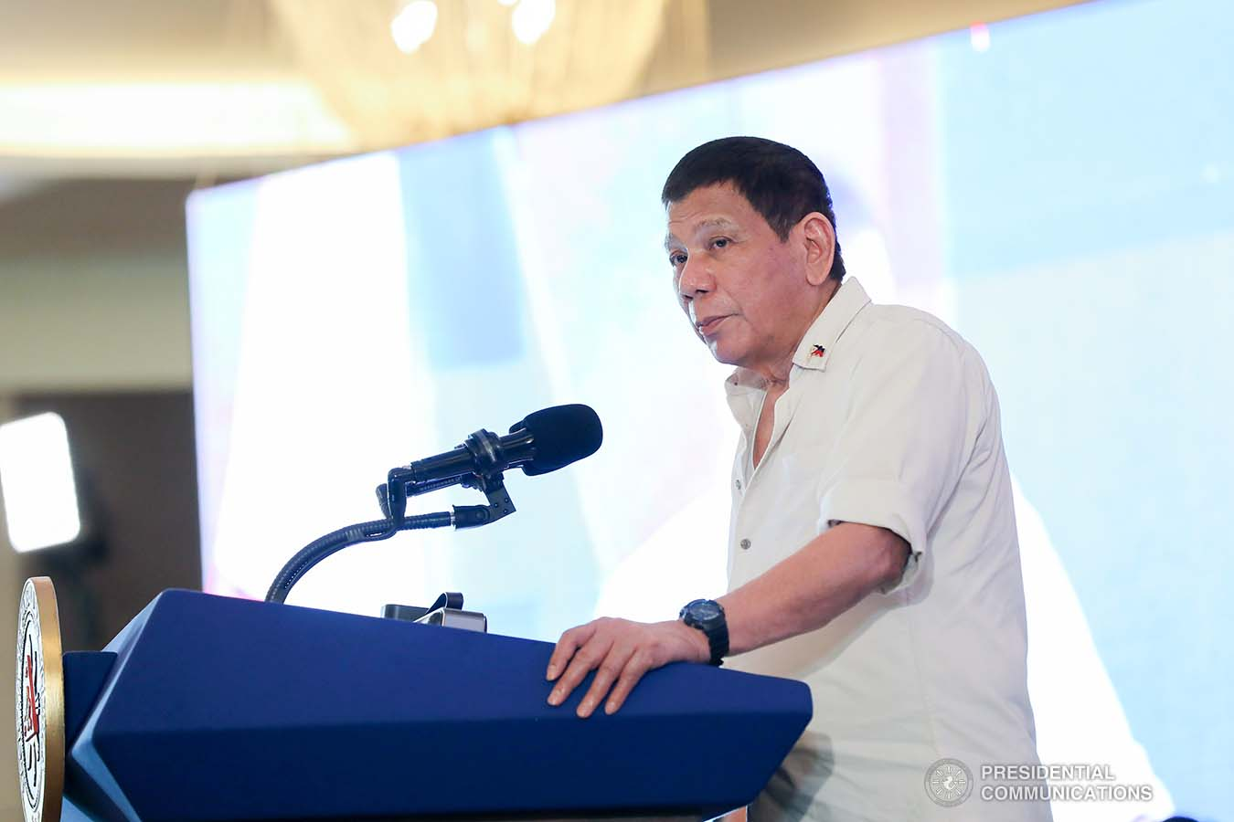 President Rodrigo Roa Duterte delivers his speech during the Joint National Task Force-Regional Task Force to End Local Communist Armed Conflict (NTF-RTF ELCAC) Region 8 meeting at the Summit Hotel in Tacloban City, Leyte on March 18, 2021. ALFRED FRIAS/ PRESIDENTIAL PHOTO