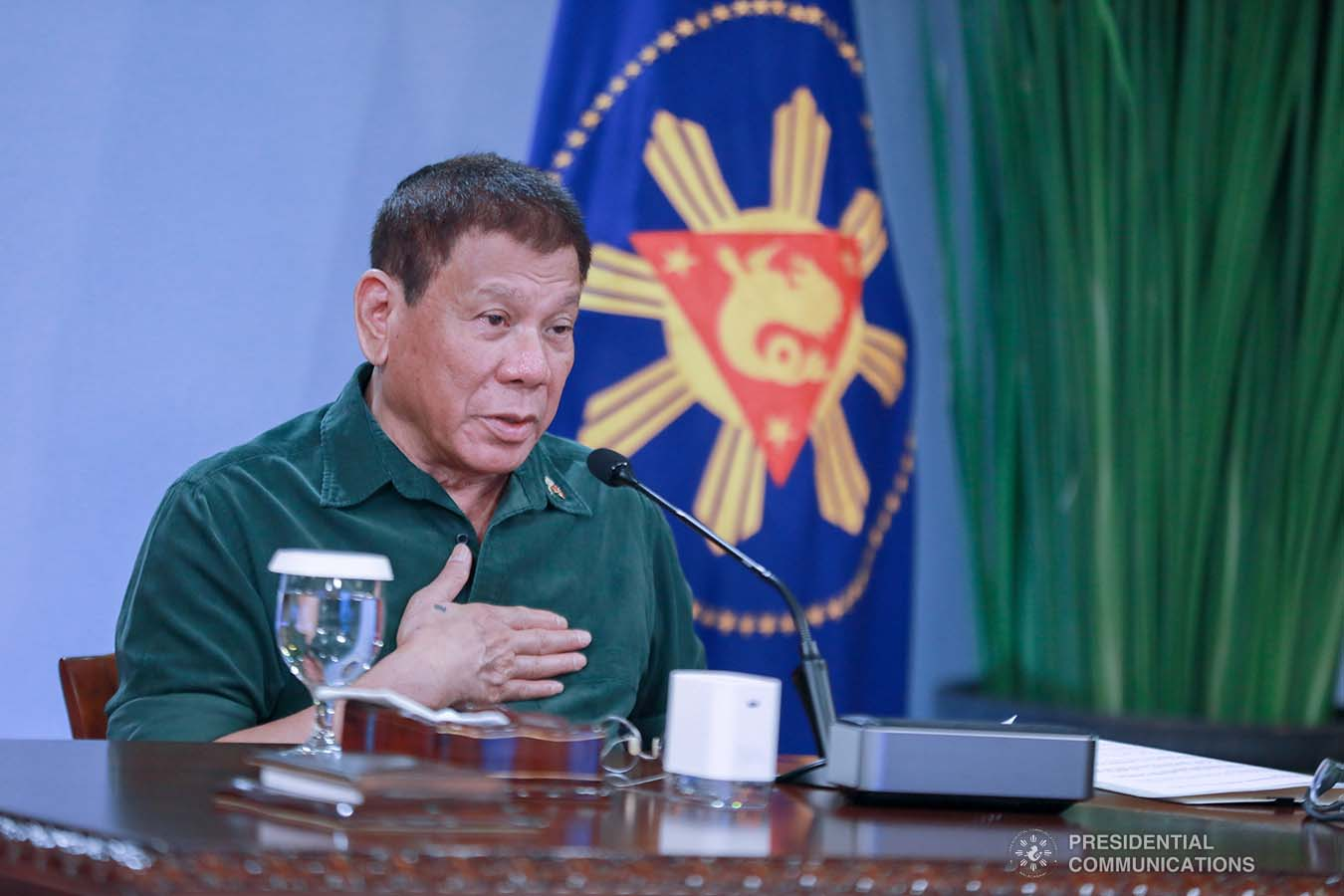 President Rodrigo Roa Duterte talks to the people after holding a meeting with the Inter-Agency Task Force on the Emerging Infectious Diseases (IATF-EID) core members at the Malacañang Golf (Malago) Clubhouse in Malacañang Park, Manila on March 1, 2021. ACE MORANDANTE/ PRESIDENTIAL PHOTO