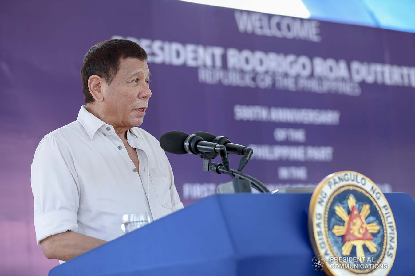 President Rodrigo Roa Duterte delivers his speech during the 500th Anniversary of the Philippine Part in the First Circumnavigation of the World held at the Veterans Park Calicoan Island in Guiuan, Eastern Samar  on March 18, 2021. ACE MORANDANTE/ PRESIDENTIAL PHOTO