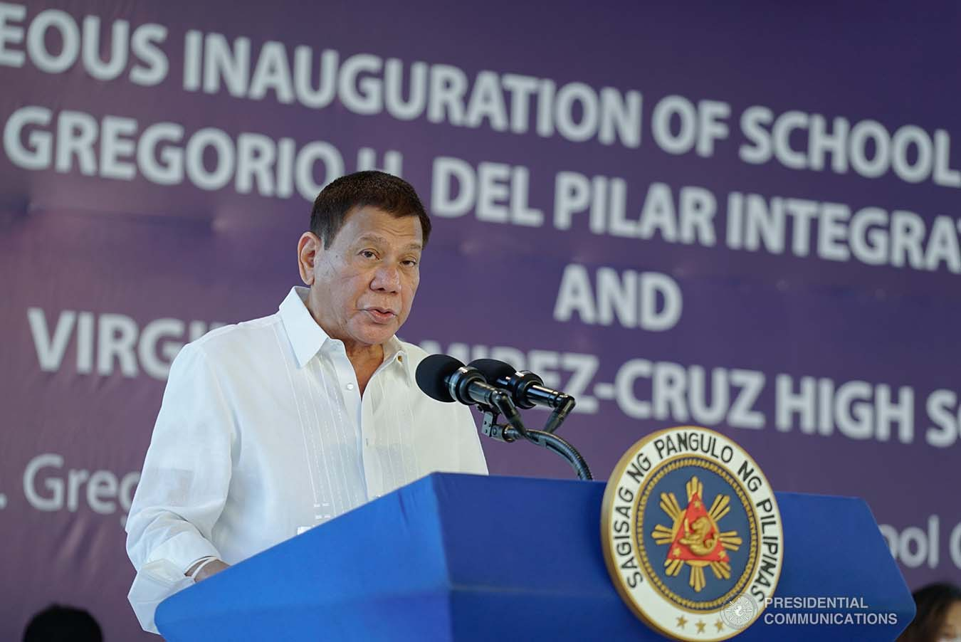 President Rodrigo Roa Duterte delivers his speech during the inauguration of the newly constructed Gen. Gregorio H. Del Pilar Integrated School and Virginia Ramirez-Cruz High School buildings in Bulakan, Bulacan on March 4, 2021. KING RODRIGUEZ/ PRESIDENTIAL PHOTO