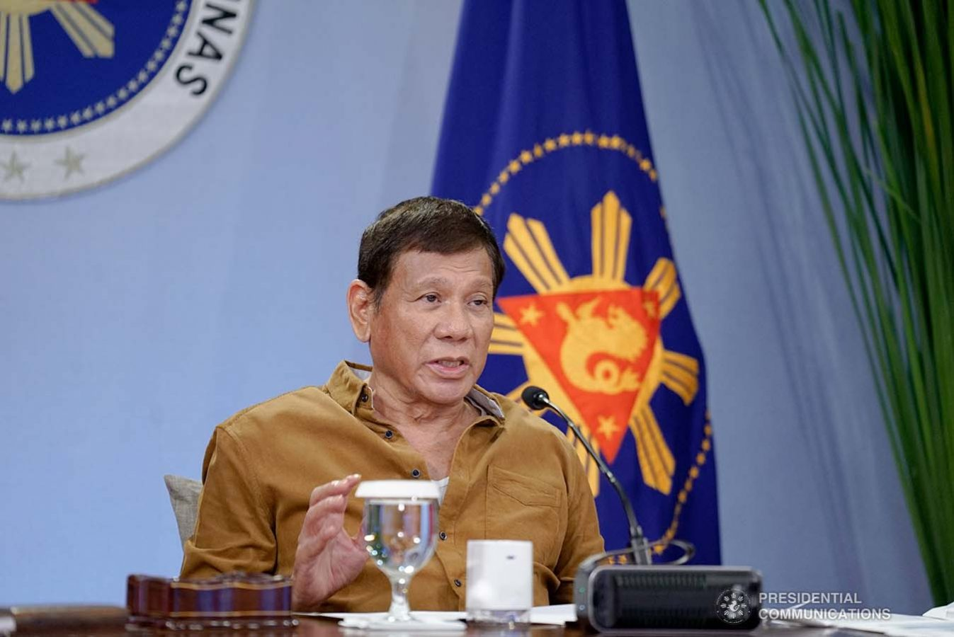 President Rodrigo Roa Duterte talks to the people after holding a meeting with the Inter-Agency Task Force on the Emerging Infectious Diseases (IATF-EID) core members at the Malacañang Golf (Malago) Clubhouse in Malacañang Park, Manila on April 15, 2021. KING RODRIGUEZ/ PRESIDENTIAL PHOTO