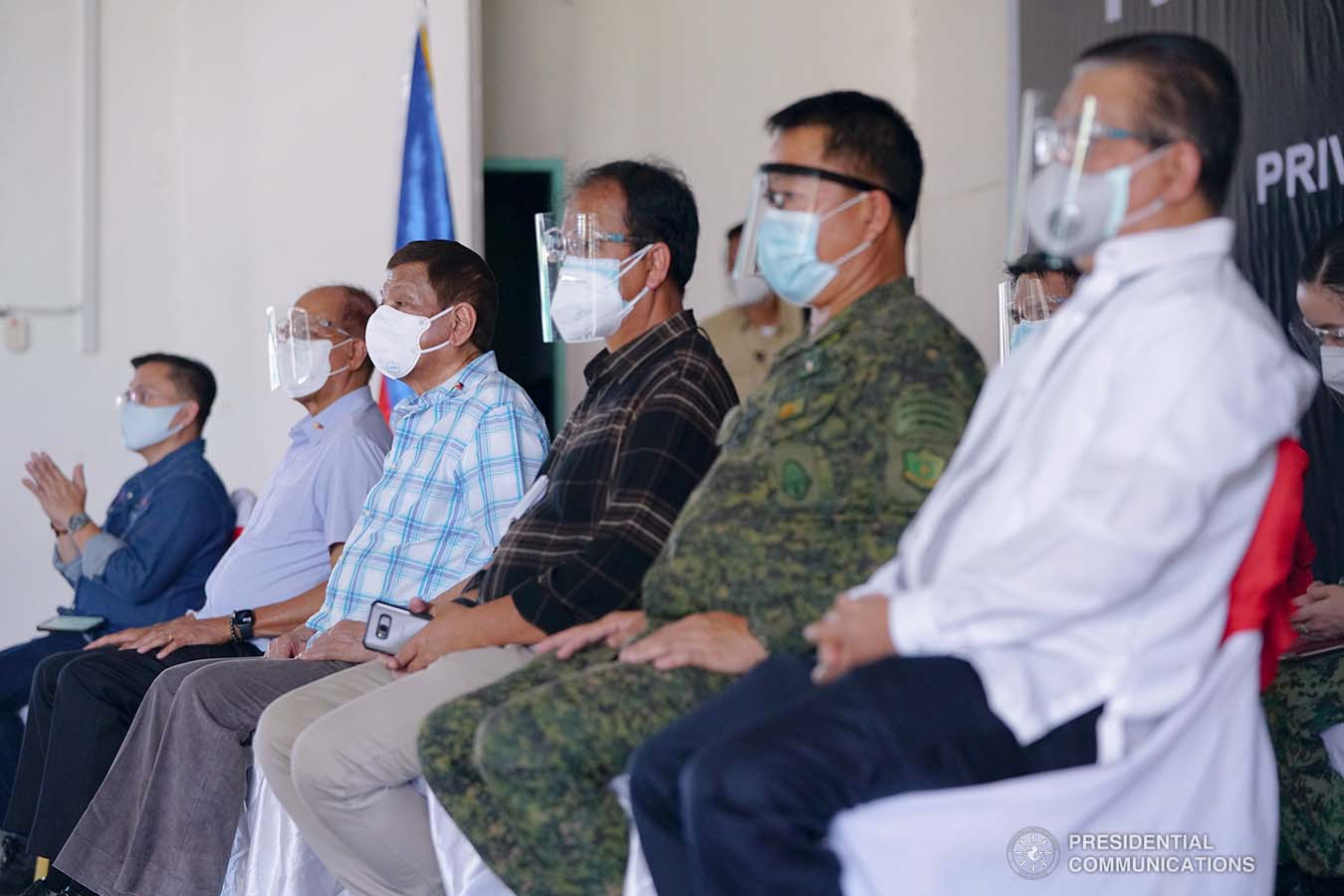 President Rodrigo Roa Duterte during his attendance in the meeting with Bangsamoro Autonomous Region in Muslim Mindanao (BARMM), local government officials, and area commanders of the Armed Forces of the Philippines and the Philippine National Police at Camp BGen. Gonzalo H. Siongco in Datu Odin Sinsuat, Maguindanao on May 11, 2021. JOEY DALUMPINES/ PRESIDENTIAL PHOTO