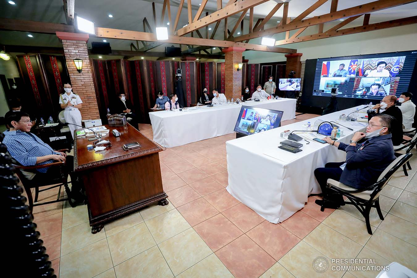 President Rodrigo Roa Duterte presides over a meeting with the Inter-Agency Task Force on the Emerging Infectious Diseases (IATF-EID) core members prior to his talk to the people at the Malacañang Golf (Malago) Clubhouse in Malacañang Park, Manila on May 13, 2021. RICHARD MADELO/ PRESIDENTIAL PHOTO