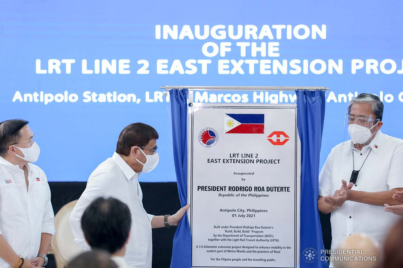 President Rodrigo Roa Duterte leads the unveiling of the Light Rail Transit (LRT) Line 2 East Extension marker during the inauguration ceremony of the newly built LRT Line 2 Station in Antipolo City, Rizal on July 1, 2021. ACE MORANDANTE/ PRESIDENTIAL PHOTO