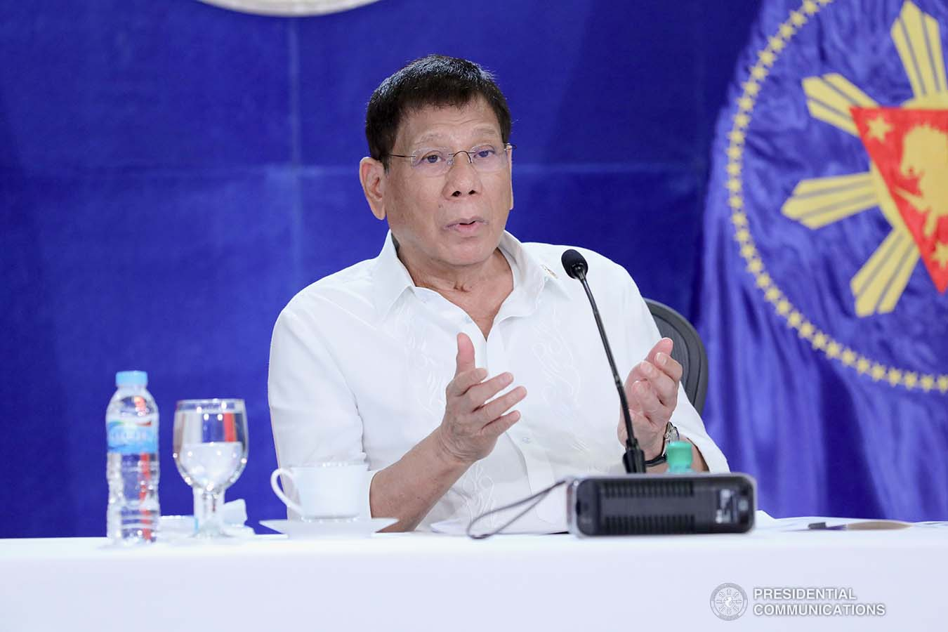President Rodrigo Roa Duterte talks to the people after holding a meeting with the Inter-Agency Task Force on the Emerging Infectious Diseases (IATF-EID) core members at the Arcadia Active Lifestyle Center in Matina, Davao City on September 22, 2021. ARMAN BAYLON/ PRESIDENTIAL PHOTO