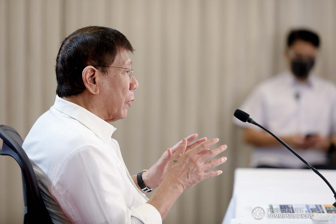 President Rodrigo Roa Duterte talks to the people after holding a meeting with the Inter-Agency Task Force on the Emerging Infectious Diseases (IATF-EID) core members at the Arcadia Active Lifestyle Center in Matina, Davao City on September 22, 2021. SIMEON CELI/ PRESIDENTIAL PHOTO